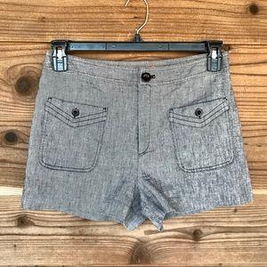 Anthro Cartonnier Linen Blend Dress Shorts Sz 6